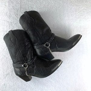 Sage Leather Cowgirl Harness Heeled Boots